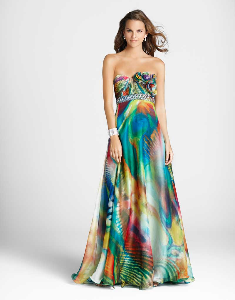 Colorful Printed Strapless Sweetheart Empire Full Length A Line Chiffon Prom Dresses With Jewel And Rosettes
