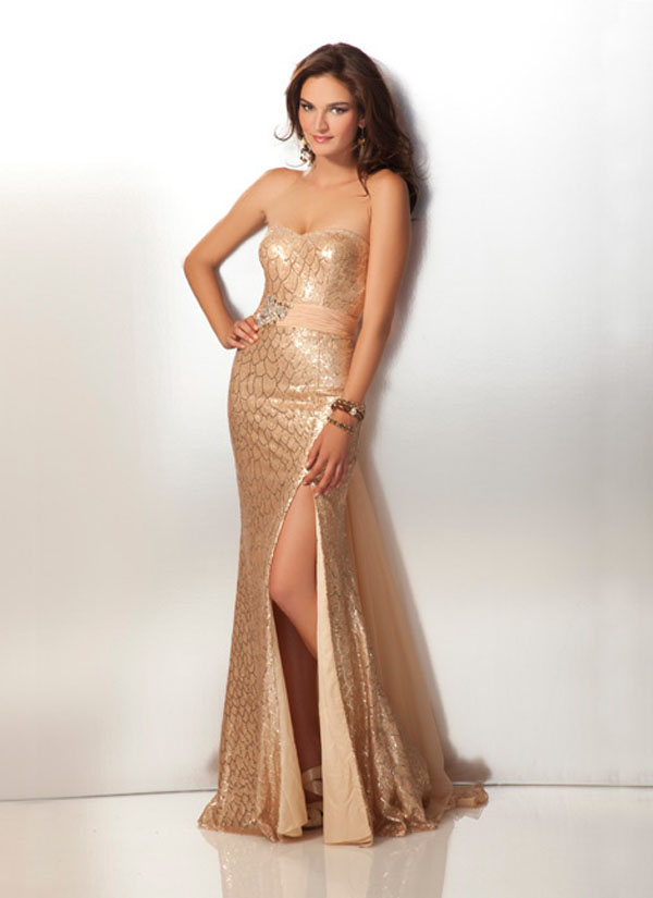 Gold Strapless Sweetheart High Slit Column Floor Length Chiffon Prom Dresses With Sash