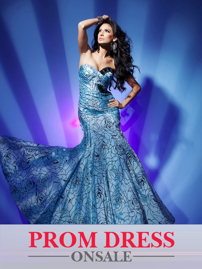 Printed Blue Strapless Sweetheart Mermaid Floor Length Chiffon Prom Dresses With Sequins