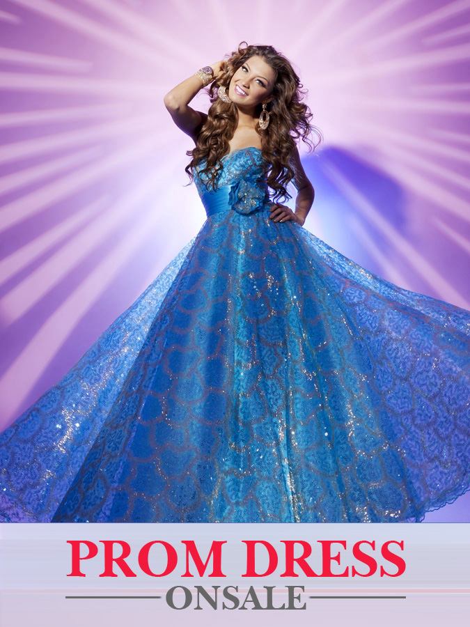 Blue Strapless Sweetheart Floor Length Empire Pleated Prom Dresses With Sequins