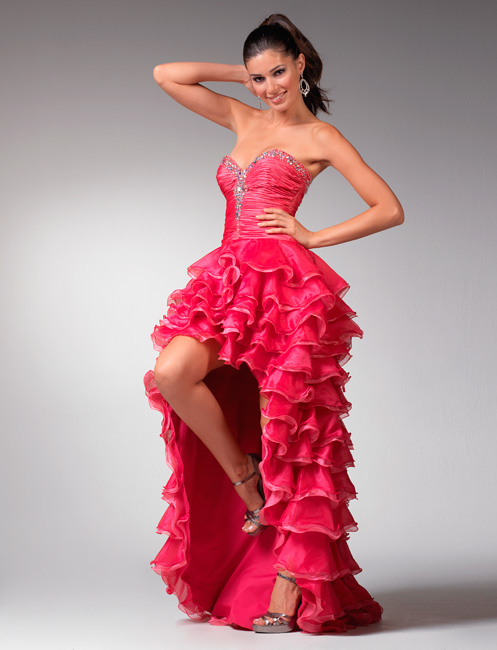 Pink Sweetheart Strapless Hi Low Length Tiered Prom Dresses With Sequins Amd Ruffles