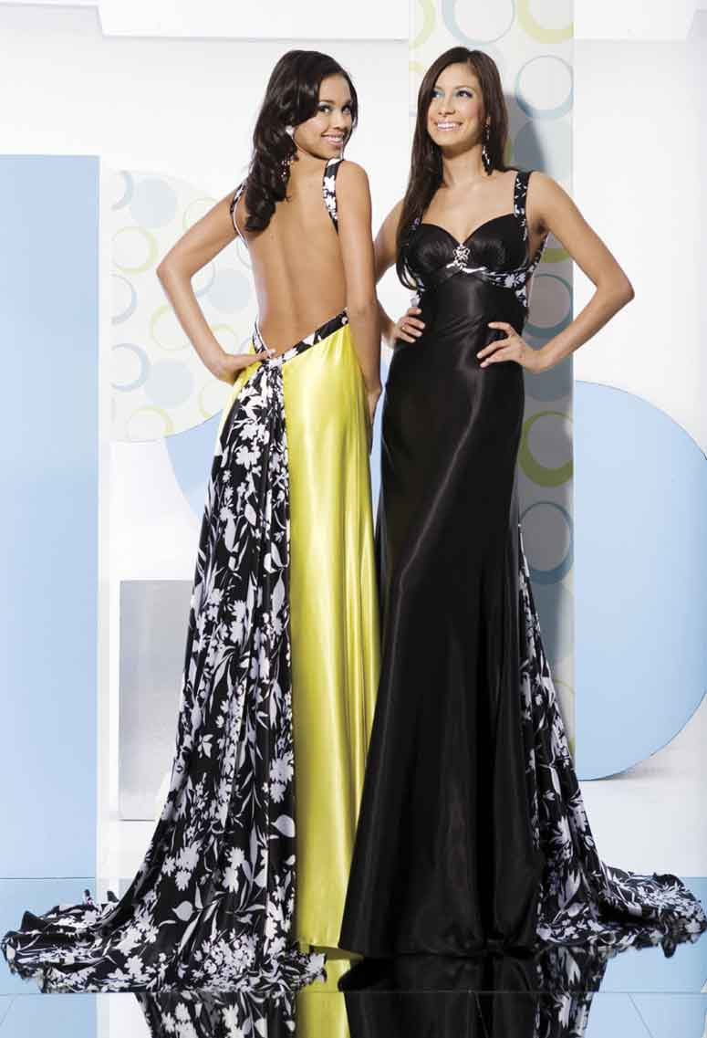 Strap And Sweetheart Backless Floor Length Sheath Prom Dresses With Floral Printed Sweep Train