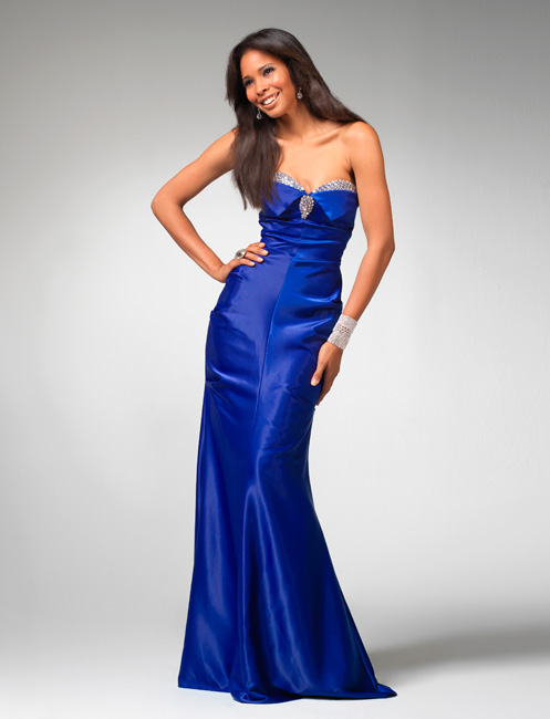 Strapless Sweetheart Column Floor Length Royal Blue Prom Dresses With Jewel