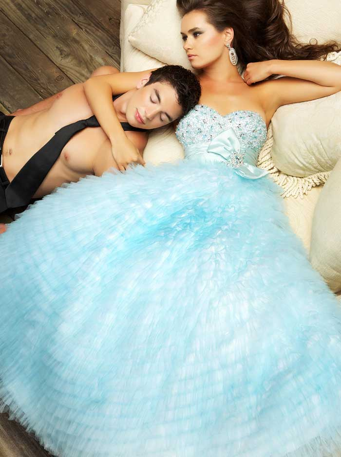 Light Sky Blue Strapless Sweetheart Floor Length A Line Prom Dresses With Jewel And Tiered Ruffles