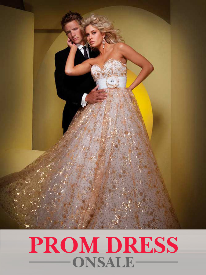 Glittery Gold Strapless Sweetheart Empire Floor Length A Line Prom Dresses With White Sash