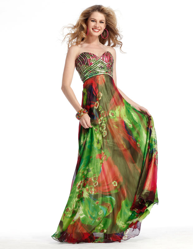 Colorful Printed Strapless Sweetheart Empire Floor Length Sheath Prom Dresses With Sequins