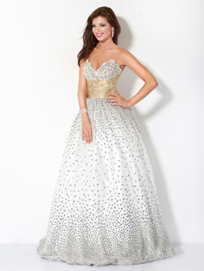 Strapless Sweetheart Floor Length White Ball Gown Prom Dresses With Silver Sequin And Champagne Sash
