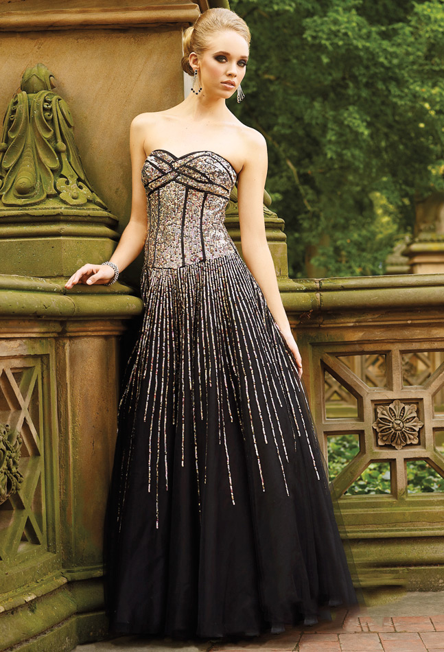 Strapless Sweetheart Floor Length Black A Line Prom Dresses With Colorful Sequins