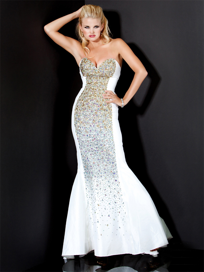Strapless Sweetheart White Floor Length Mermaid Prom Dresses With Colorful Sequins