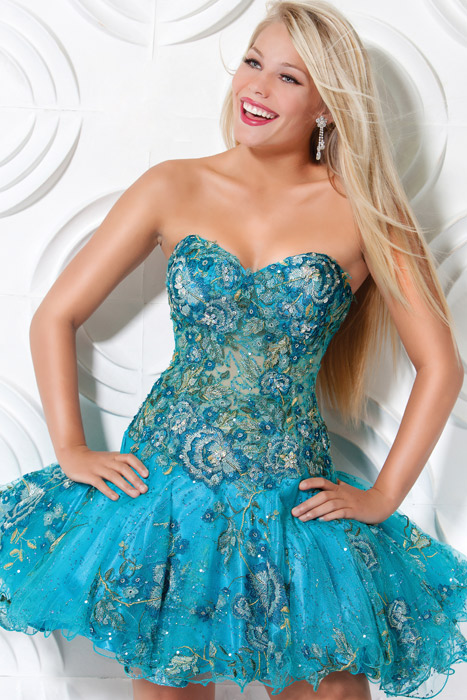 Strapless Sweetheart Printed Blue Mini Length A Line Prom Dresses With Embroidery