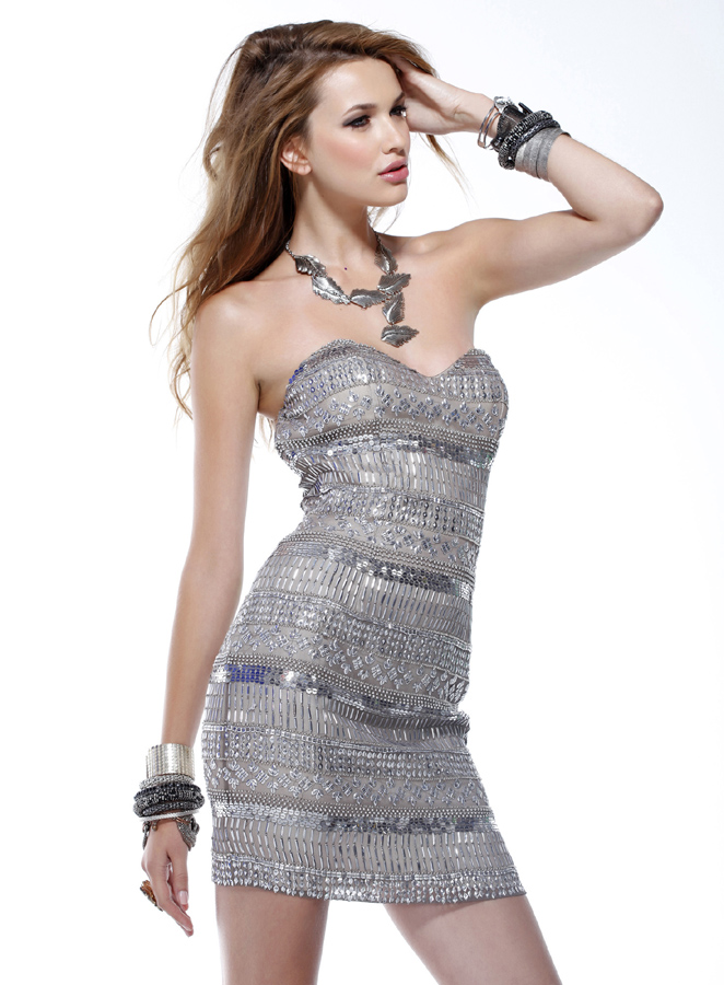 Sexy Silver Strapless Sweetheart Sheath Mini Length Prom Dresses With Sequins