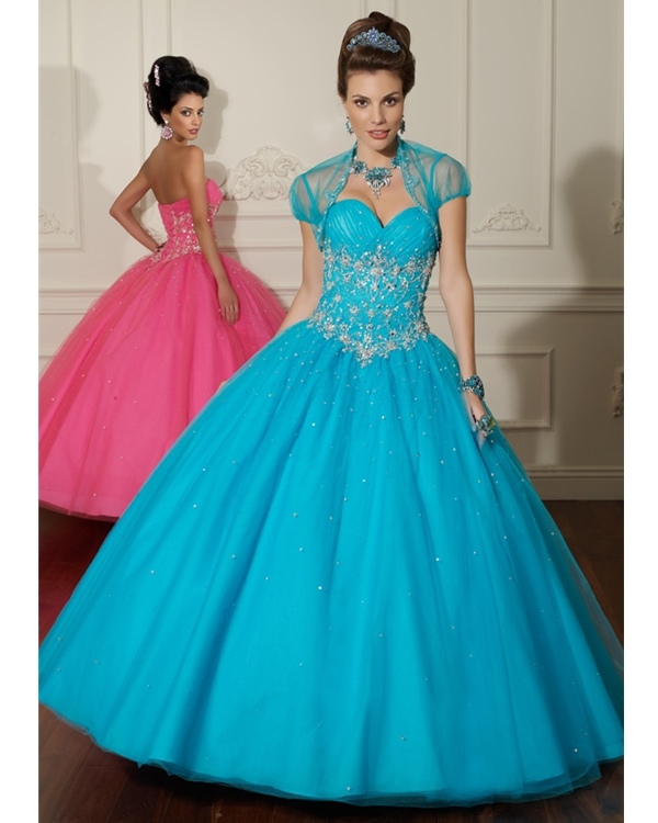 Turquoise Sweetheart Floor Length Ball Gown Organza Quinceanera Dresses With Beadings Appliques