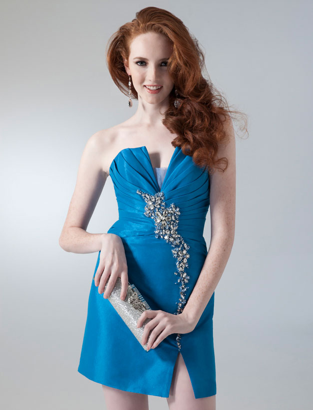 Blue Strapless Knee Length Satin Homecoming Dresses With Beadings