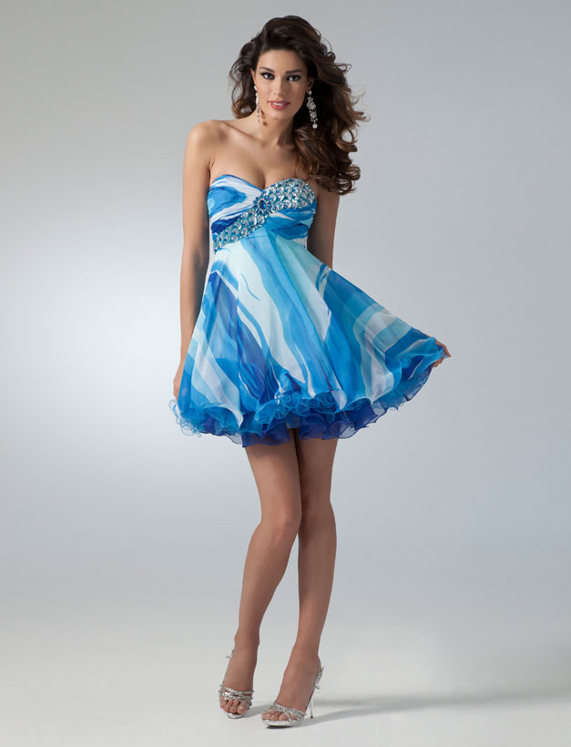 Blue Printed Sweetheart Neckline Mini Skirt Empire Chiffon Homecoming Dresses