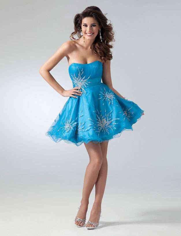 Turquoise Sweetheart And Strapless Mini Skirt Organza Homecoming Dresses With Beading Embroidery
