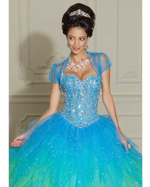 Sweetheart Turquoise Floor Length Ball Gown Organza Quinceanera Dresses With Beadings