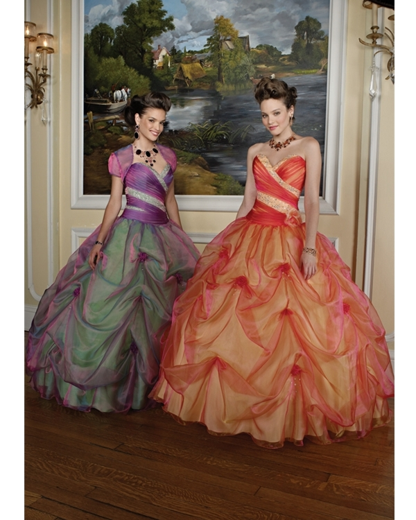 Orange Strapless And Sweetheart Floor Length Ball Gown Organza Quinceanera Dresses With Beadings