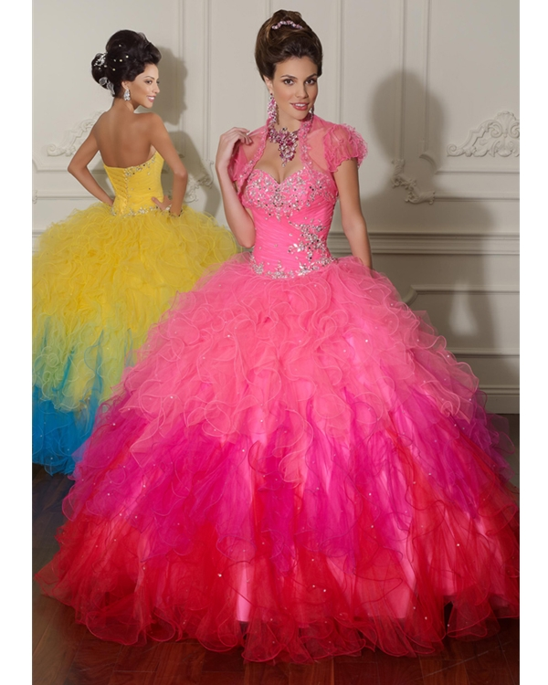 Pink Sweetheart Ball Gown Floor Length Organza Satin Quinceanera Dresses With Ruffles And Beads
