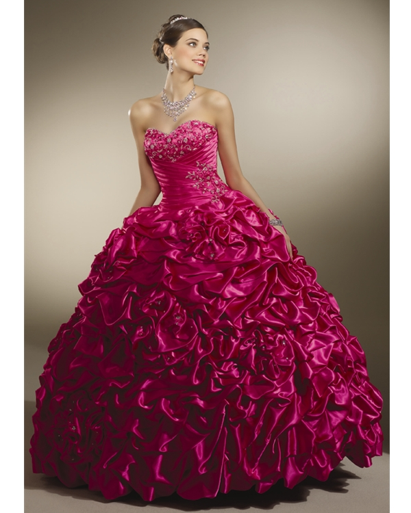 Fuchsia Ball Gown Strapless Sweetheart Floor Length Soft Satin Quinceanera Dresses With Ruffles And Embroidery