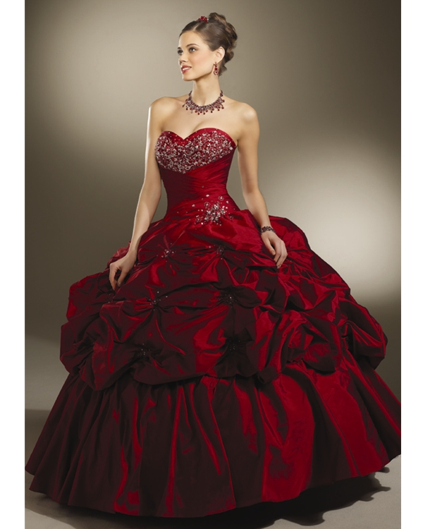 Strapless Sweetheart Red Ball Gown Floor Length Taffeta Quinceanera Dresses With Twist Drapes And Sequins