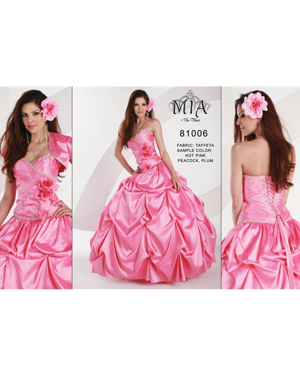 Strapless Sweetheart Floor Length Ball Gown Pink Taffeta Quinceanera Dresses With Flowers
