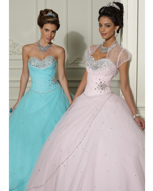 Strapless Sweetheart Pink Beaded Full Length Ball Gown Tulle Quinceanera Dresses