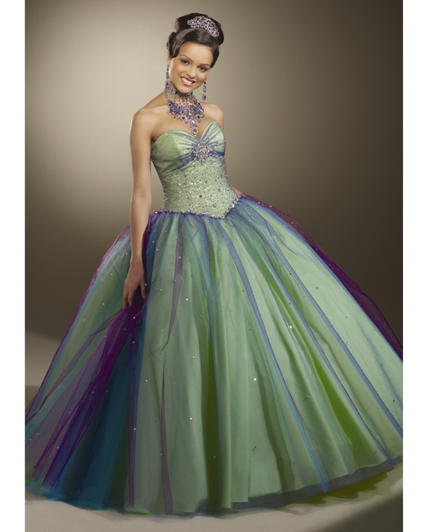 Green And Purple Strapless Sweetheart Floor Length Ball Gown Tulle Quinceanera Dresses With Beadings