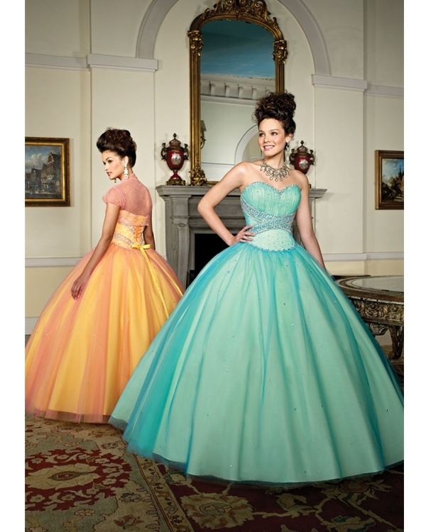 Turquoise Strapless Sweetheart Ball Gown Floor Length Tulle Quinceanera Dresses With Beadings