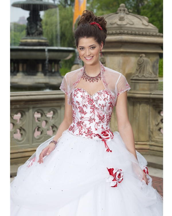 Strapless Sweetheart Floor Length White Ball Gown Tulle Quinceanera Dresses With Red Embroidery