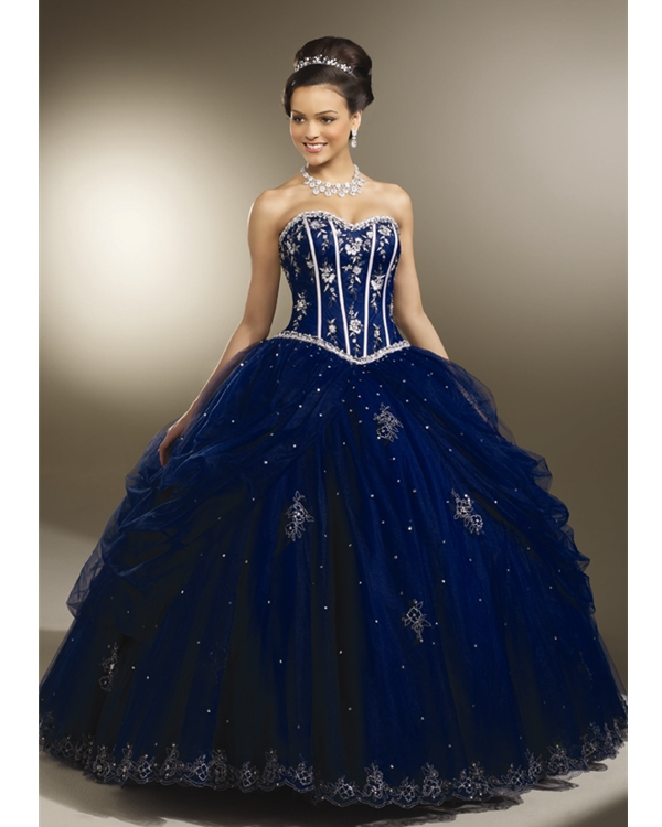 Dark Blue Strapless Sweetheart Floor Length Ball Gown Tulle Quinceanera Dresses With White Embroidery