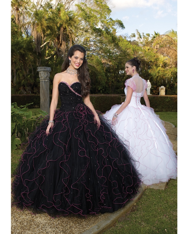 Black Sweetheart Strapless Floor Length Ball Tulle Quinceanera Dresses With Pink Trimmed Ruffles