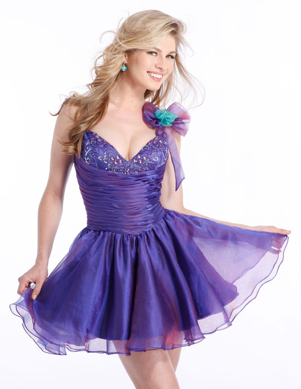 Sweetheart Purple Short Mini A Line Organza Prom Dresses With Embroidery