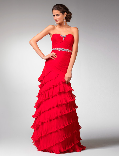 Scarlet Sweetheart Floor Length Sheath Tiered Prom Dresses With Beads And Ruches