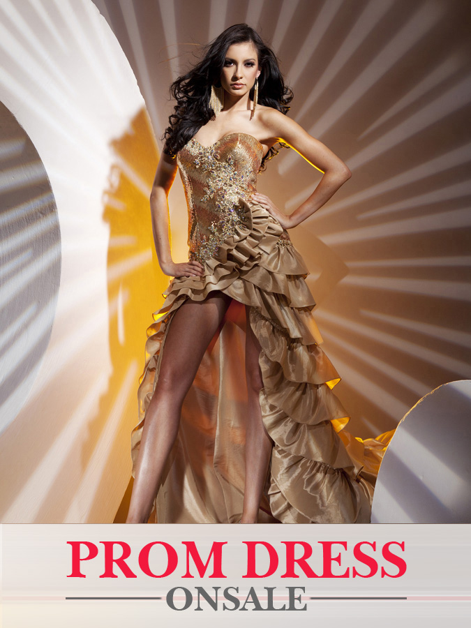 Gold Strapless Sweetheart Ruffle Hi Low Sheath Prom Dresses With Beadings