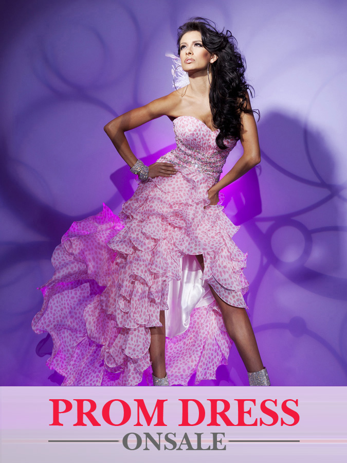 Pink Printed Strapless Sweetheart Hi Low Ruffled A Line Prom Dresses With Beadings