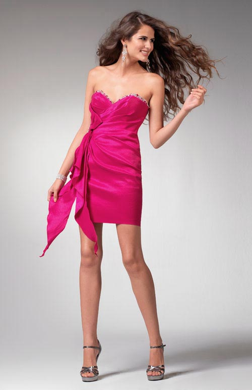 Magenta Strapless Sweetheart Column Short Length Satin Prom Dresses With Bows