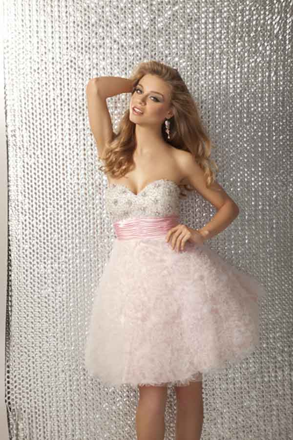 Strapless Sweetheart Mini Short Pale Pink Empire Prom Dresses With Sequin And Ruches