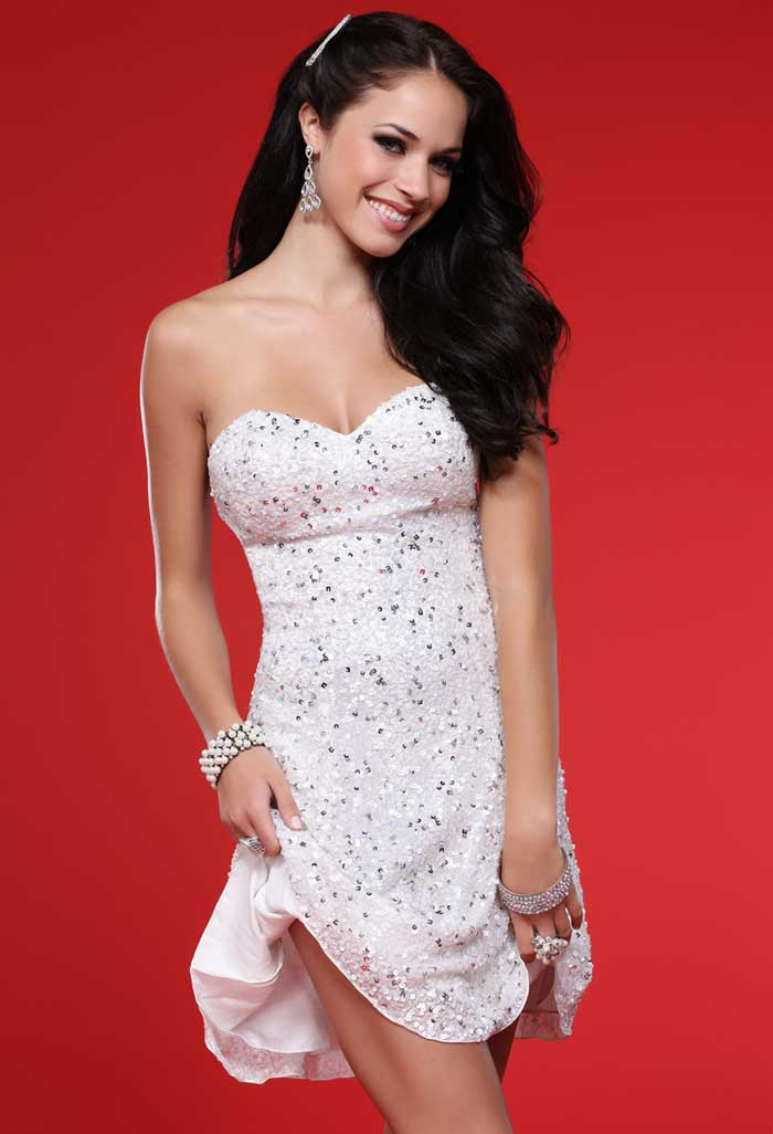 Paint Pink Strapless Sweetheart Short Mini Sheath Prom Dresses With Sequins