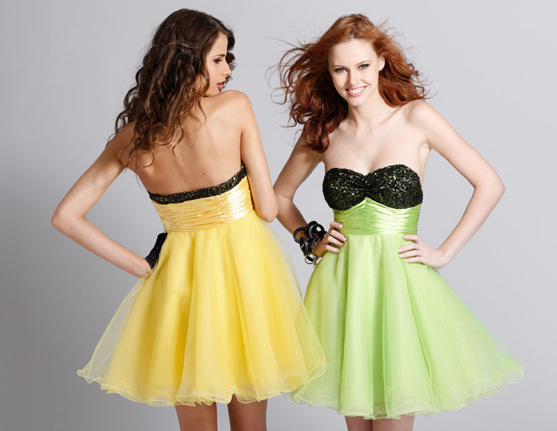 Yellow Strapless Sweetheart Empire Short Mini Tulle Prom Dresses With Black Sequins