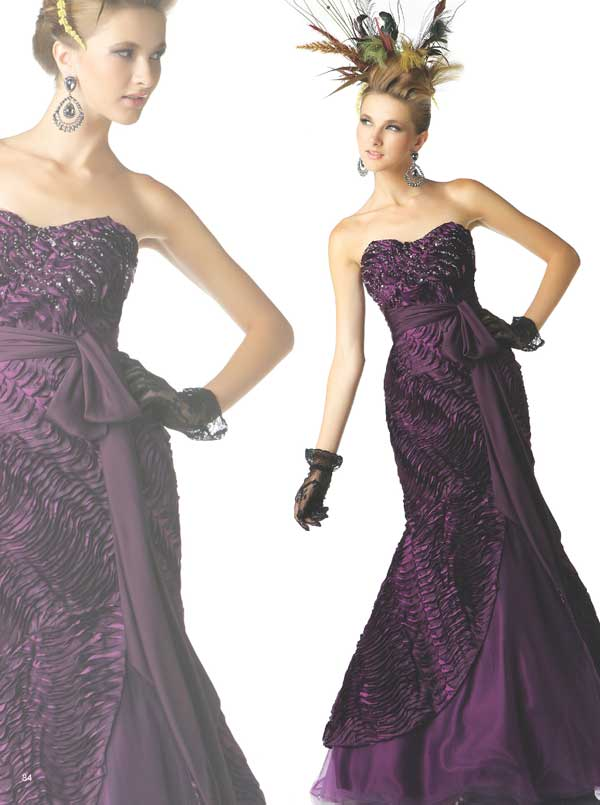 Grape Strapless Sweetheart Floor Length Mermaid Tulle Prom Dresses With Sequins