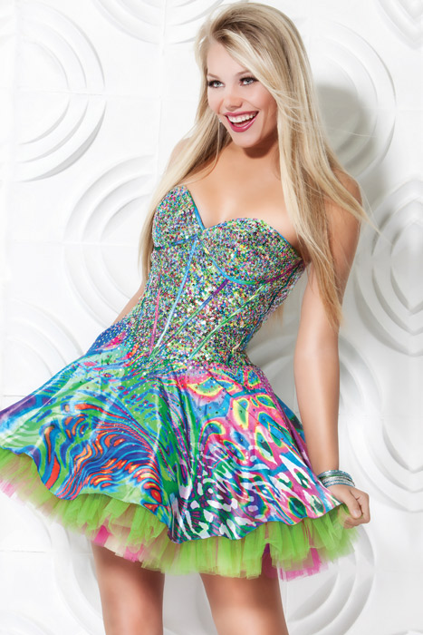 Colorful Printed Strapless Sweetheart A Line Short Mini Tulle Prom Dresses With Sequins