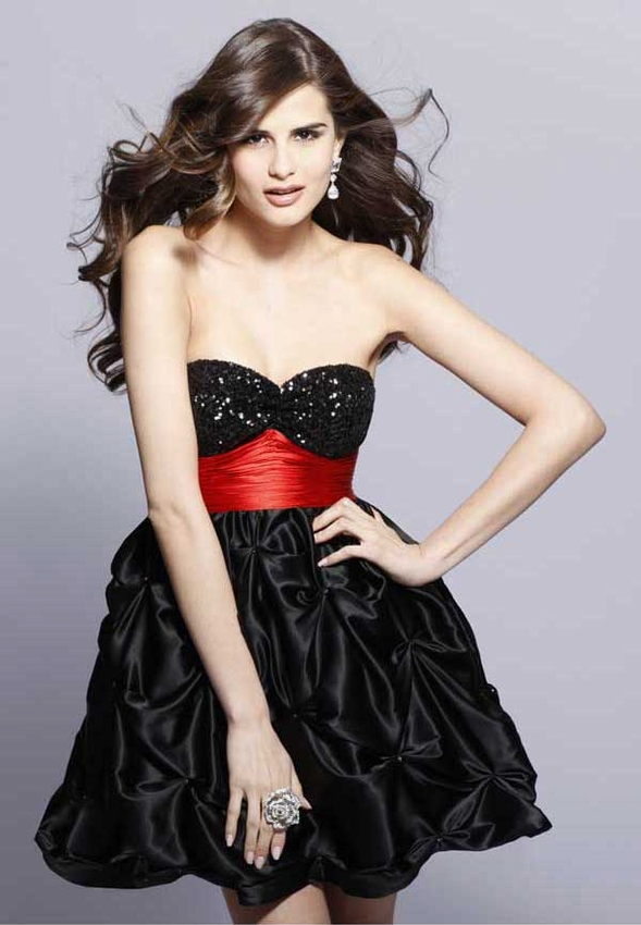 Black Sweetheart Neckline Sequined And Ruffled Mini Skirt Satin Formal Dresses With Red Sash