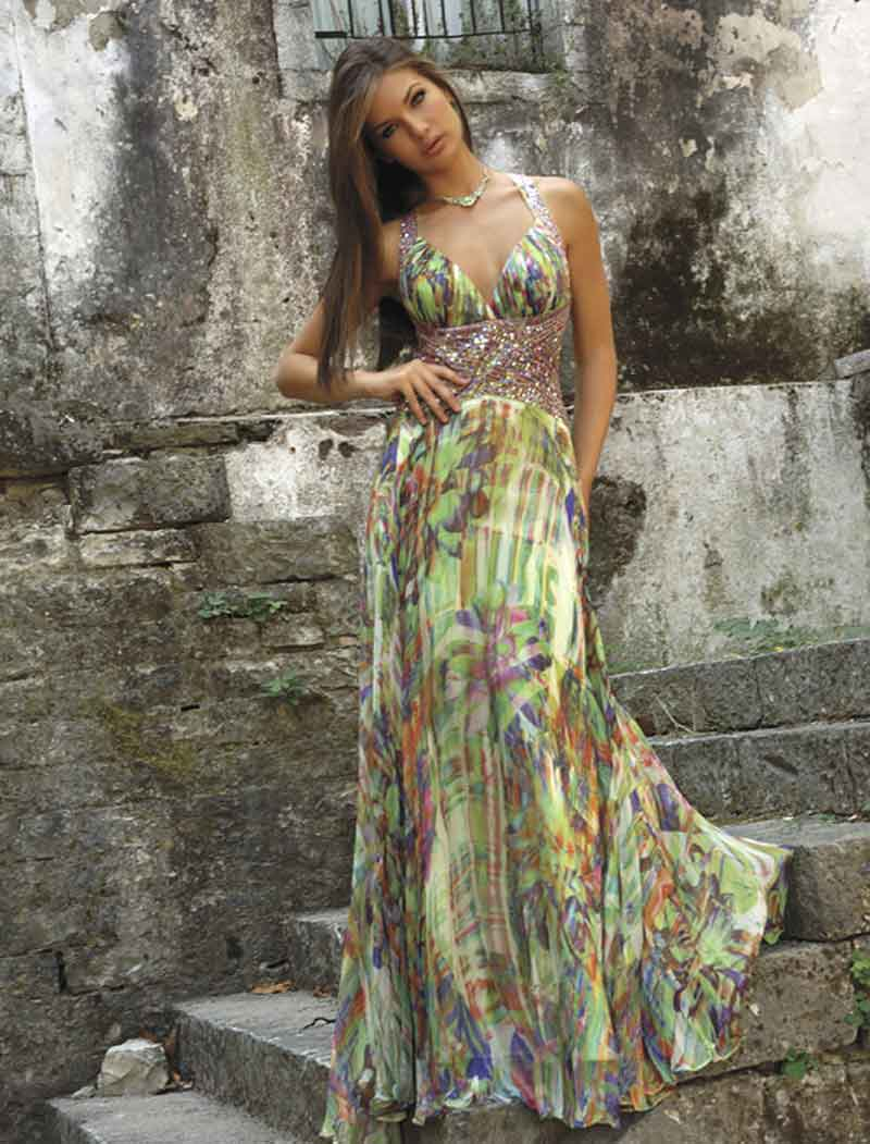 Printed V Neck Cross Back Sheath Floor Length Chiffon Pleated Prom Dresses With Sequins