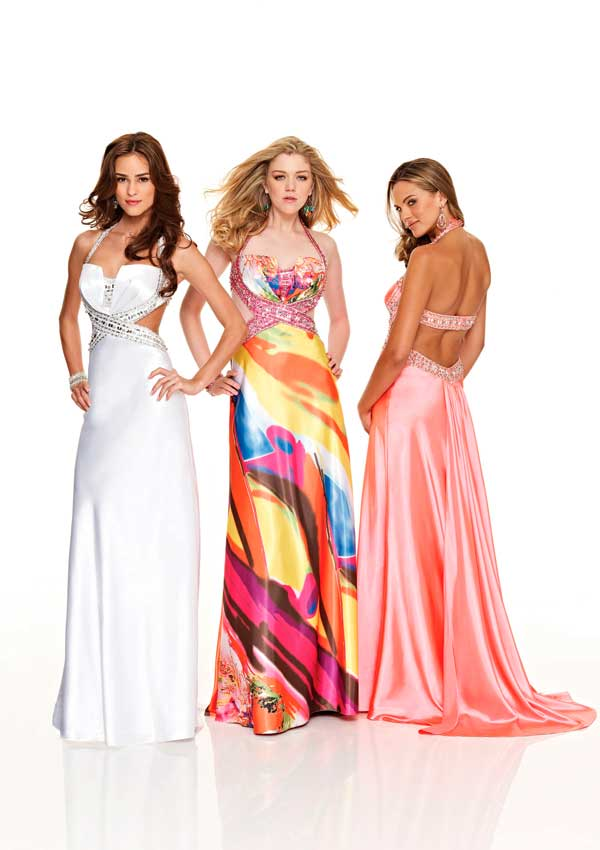 Multi Color Printed Halter Neck Open Back Sweep Train Floor Length Column Prom Dresses With Beads