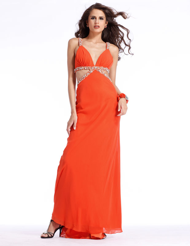 Sexy Orange V Neck And Strap Floor Length Sheath Prom Dresses With Beads
