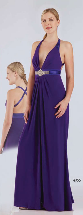 Purple Halter And Deep V Neck Cross Back Floor Length Sheath Prom Dresses With Jewel
