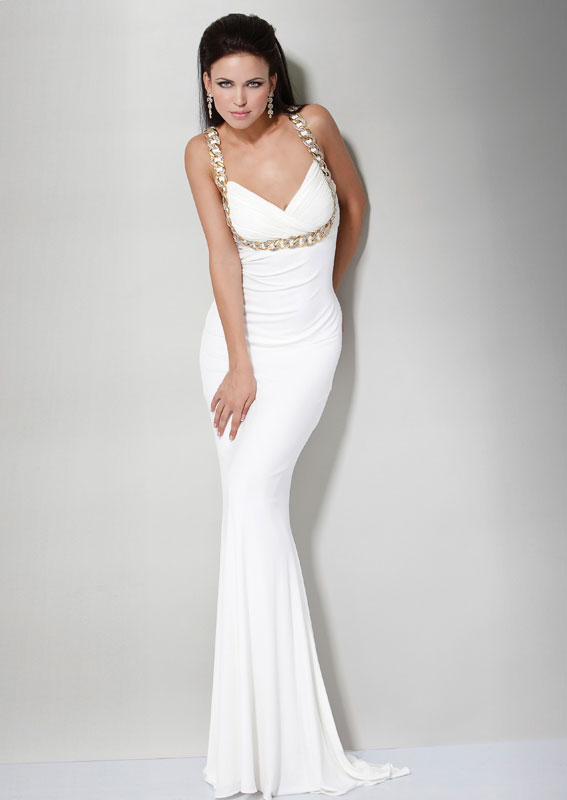 White V Neck Sweep Train Mermaid Floor Length Chiffon Prom Dresses With Gold Rings