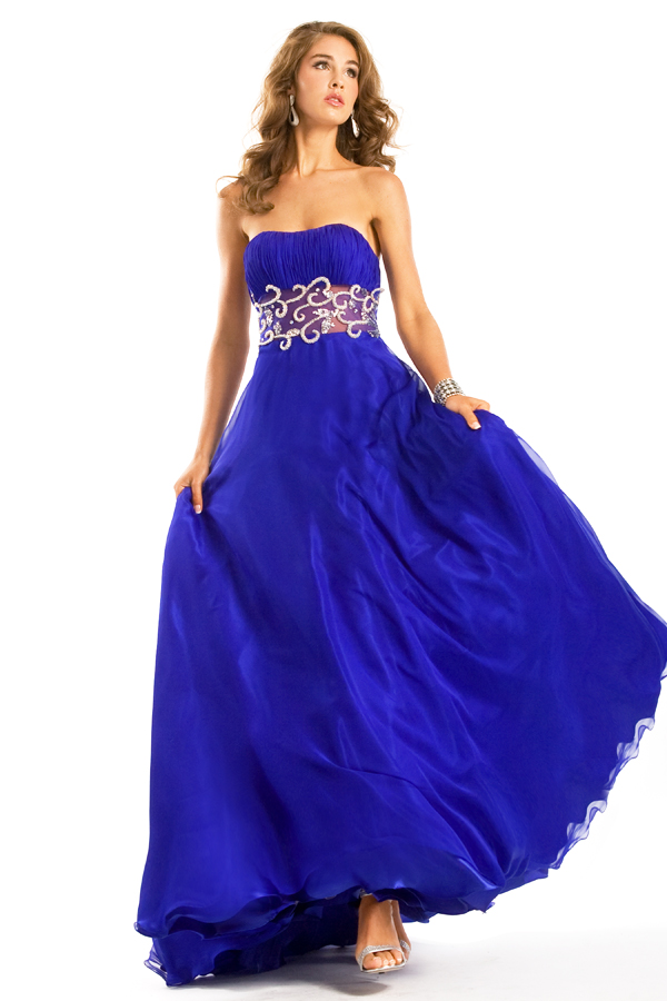 Royal Blue A Line Strapless Floor Length Sexy Dresses With Embellished Wide Waistband