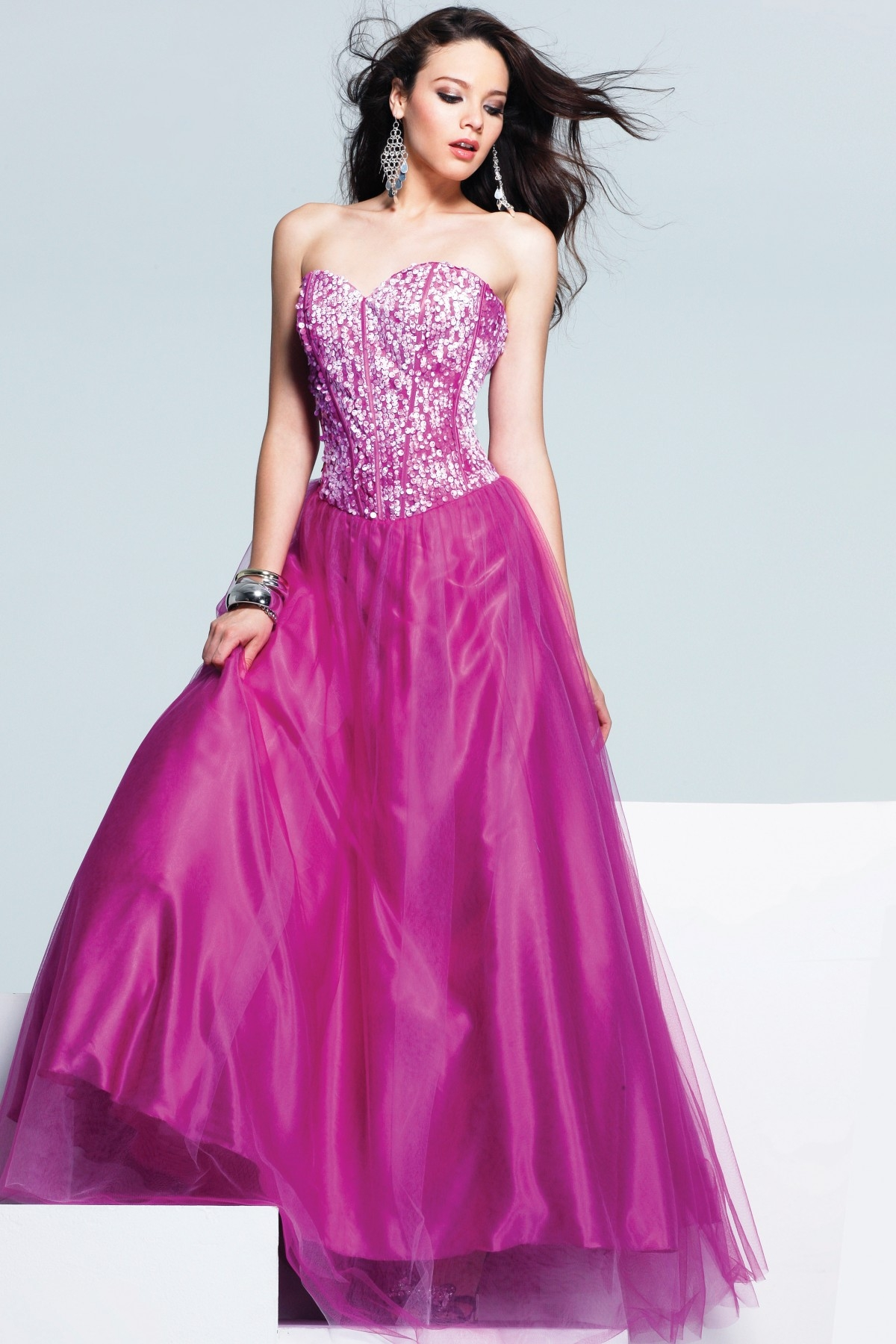 Fuchsia Sweetheart Low Back A Line Floor Length Tulle Sexy Dresses With Sequins