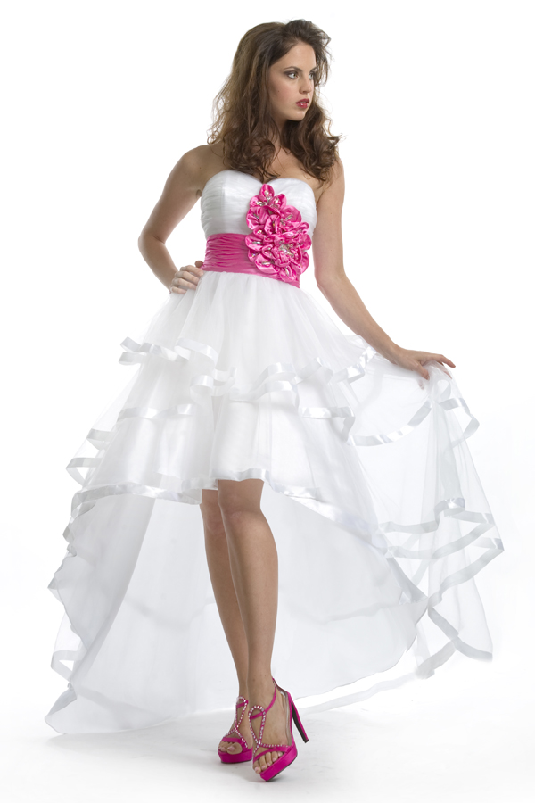 White Sweetheart Strapless Hi Low Length A Line Sexy Dresses With Fuchsia Flowers And Belt